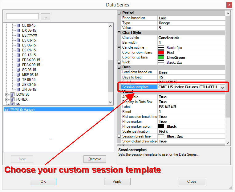 Select Session template